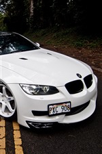 Preview iPhone wallpaper BMW M3 E92 white car front view, road
