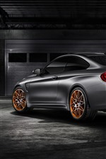 Preview iPhone wallpaper BMW M4 GTS silver car rear view
