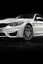 BMW M4 white car front view, black background