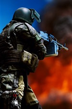 Preview iPhone wallpaper Battlefield 4, soldier, weapon, fire