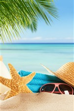 Preview iPhone wallpaper Beach, sands, glasses, starfish, hat, flip flops