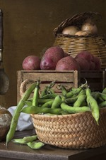Preview iPhone wallpaper Beans, potatoes, bread, still life
