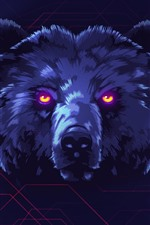 Preview iPhone wallpaper Bear, face, bright eyes, art picture