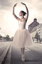 Preview iPhone wallpaper Beautiful Ballerina, girl, dance, street, city