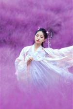 Preview iPhone wallpaper Beautiful Chinese girl, retro style, pink flowers world