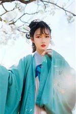 iPhone fondos de pantalla Hermosa joven china, estilo retro, flores blancas de manzana