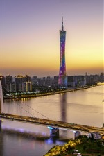 Preview iPhone wallpaper Beautiful Guangzhou, Canton Tower, bridge, river, skyscrapers, lights, dusk