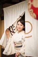 Preview iPhone wallpaper Beautiful Japanese girl, kimono, smile, lantern