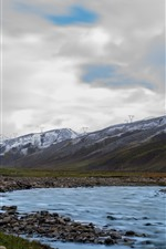 Preview iPhone wallpaper Beautiful Tibet, mountains, creek, stones, clouds
