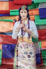 Preview iPhone wallpaper Beautiful Xinjiang girl, hairstyle, colorful background