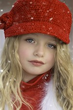 Preview iPhone wallpaper Beautiful blonde little girl, child, hat, snow