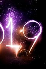 iPhone fondos de pantalla Bellos fuegos artificiales, Feliz Año Nuevo 2019, noche