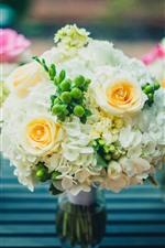 Beautiful flowers, bouquet, rose, hydrangea, vase