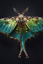 Preview iPhone wallpaper Beautiful moth, brooch, art, black background