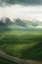 Preview iPhone wallpaper Beautiful nature landscape, green grass, mountains, clouds