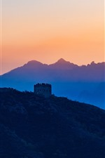 Preview iPhone wallpaper Beautiful sunset, mountains, Great Wall, China