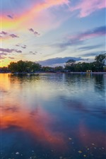 Beautiful sunset, park, lake, trees, clouds, China