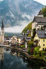 Vila bonita, lago, montanhas, névoa, Hallstatt, Áustria
