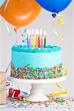 Preview iPhone wallpaper Birthday cake, colorful decoration, candles, flame, balloons