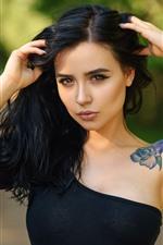 Preview iPhone wallpaper Black hair girl, brown eyes, tattoo