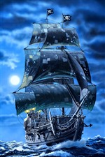 Preview iPhone wallpaper Black pearl sail ship, pirates, sea, art picture