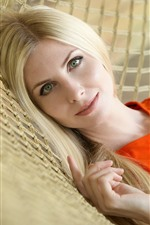 Preview iPhone wallpaper Blonde girl, green eyes, hammock
