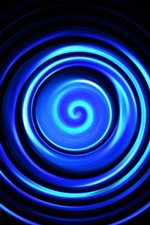 Preview iPhone wallpaper Blue abstract spiral, black background