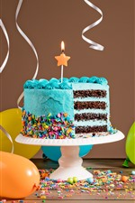 Preview iPhone wallpaper Blue birthday cake, cutting, cream, candle, balloons