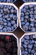 Preview iPhone wallpaper Blueberries and blackberries, fruit, harvest