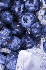 Preview iPhone wallpaper Blueberries, ice cubes