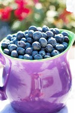 Preview iPhone wallpaper Blueberries, purple cup, flowers