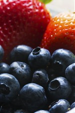 Preview iPhone wallpaper Blueberry and strawberry, fruit, bowl