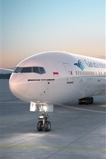 Preview iPhone wallpaper Boeing 777-300 airplane, airport