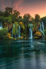 Preview iPhone wallpaper Bosnia and Herzegovina, Kravice waterfalls, lake, trees, dusk