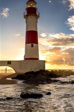 Preview iPhone wallpaper Brazil, Salvador, lighthouse, sea, clouds, sunset