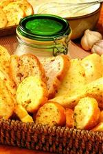 Preview iPhone wallpaper Bread slice, garlic