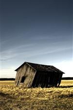 Preview iPhone wallpaper Broken hut, fields