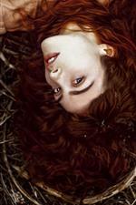 Preview iPhone wallpaper Brown hair girl, look, bushes