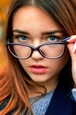 Preview iPhone wallpaper Brown hair girl, look, glasses