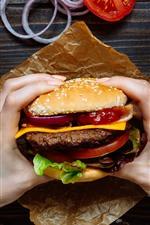Hamburguesa, comida rápida, manos.