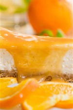 Preview iPhone wallpaper Cake, cheese, orange slices, dessert