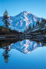 Preview iPhone wallpaper California, Mount Shasta, lake, mountains, trees, water reflection, USA