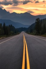 Preview iPhone wallpaper Canada, Albert, road, trees, mountains, clouds, dusk