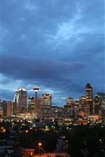 Canadá, calgary, cidade, à noite, edifícios, arranha-céus, luzes