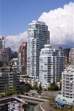 Canadá, Vancôver, cais, iate, arranha-céus, cidade, nuvens