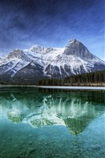 Preview iPhone wallpaper Canada, lake, forest, water reflection, mountains, nature landscape