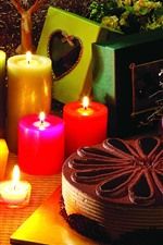 Preview iPhone wallpaper Candles, flame, cake, holiday