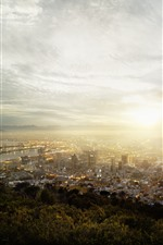 Preview iPhone wallpaper Cape Town, South Africa, city, top view, fog, morning, sunrise