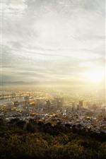 미리보기 iPhone 배경 화면 케이프 타운, 남아프리카 공화국, 도시, 상위 뷰, 안개, 아침, 일출