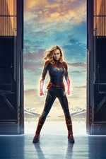 Preview iPhone wallpaper Captain Marvel, Brie Larson, Marvel movie 2019